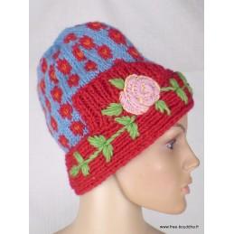 Bonnet népalais laine bleu rouge doublé polaire BON5