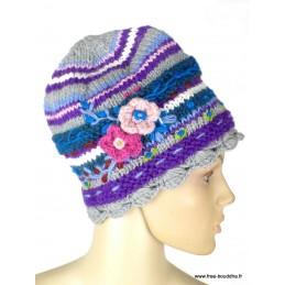 Bonnet népalais laine violet gris doublé polaire BON6