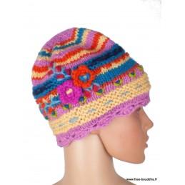 Bonnet népalais laine jaune rose doublé polaire BON7