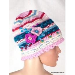 Bonnet en laine doublée polaire rose bleu BON8