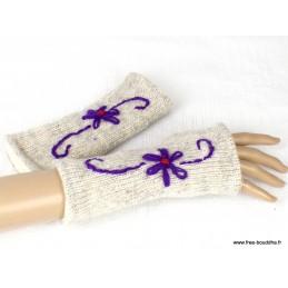 Mitaines gants sans doigts en laine écru mauve MIT6.1