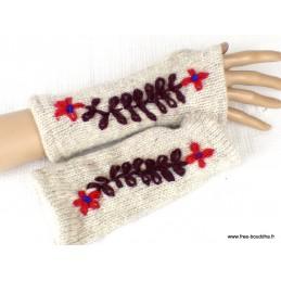 Mitaines gants sans doigts en laine écru marron MIT7