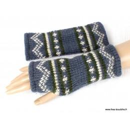 Mitaines gants sans doigts en laine gris kaki homme femme MIT9