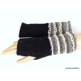 Mitaines gants sans doigts en laine noir grisi homme femme MIT10