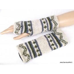 Mitaines gants sans doigts en laine gris blanci homme femme MIT11