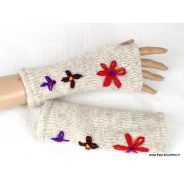 Mitaines gants sans doigts en laine écru à fleurs MIT12