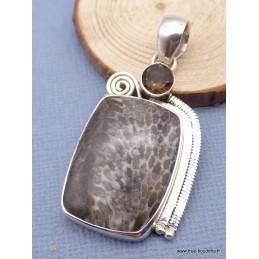 Pendentif Corail Stingray et quartz fumé Pendentifs pierres naturelles JEW24.2