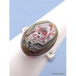 Bague Fordite Agate Detroïte ovale kaki rouge taille 58 Bagues pierres naturelles PAC19.2