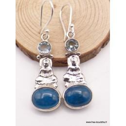 Boucles d'oreilles Apatite bleue cabochon Bouddha Boucles d'oreilles en pierres XV127.1