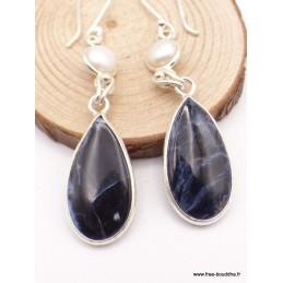 Boucles d'oreilles pendantes Pietersite et perle Boucles d'oreilles en pierres XV127.8