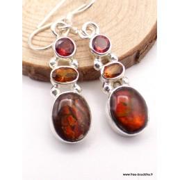 Boucles d'oreilles Ammolite et pierres Boucles d'oreilles en pierres XV127.13