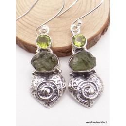 Boucles d'oreilles Moldavite Péridot déco Coeur Boucles d'oreilles en pierres XV127.16