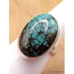 Bague Turquoise du Tibet nuances noires taille 59 Bagues pierres naturelles XV128.2