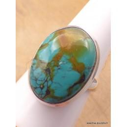 Bague Turquoise du Tibet nuances marron Taille 60 Bagues pierres naturelles XV128.5