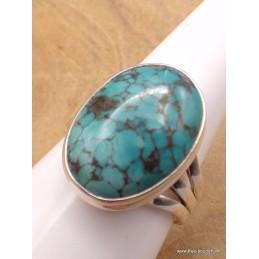 Bague Turquoise du Tibet trois anneaux Taille 62 Bagues pierres naturelles XV128.6