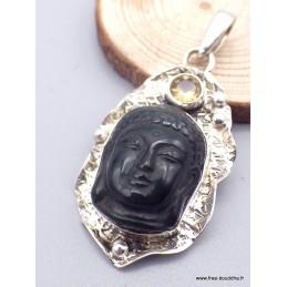 Pendentif Bouddha sculpté en Obsidienne oeil céleste Pendentifs pierres naturelles jew9.6