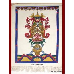 Tenture tibétaine écrue signes de bon augure TTCE2