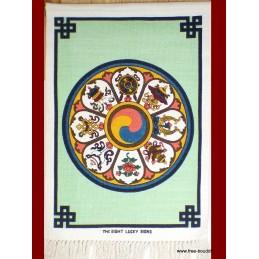 Tenture tibétaine coton épais 8 signes auspicieux TTCE1