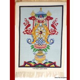 Tenture murale tibétaine bleue signes de bon augure TTCE3