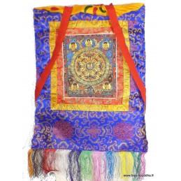 Tangka tibétain Roue de la Vie 5 Bouddhas TANRV1