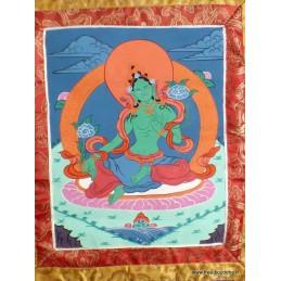 Tangka Tibétaine Tara Verte 44 x 73 cm DEFAUT Tangkas tibétains TANkTV1DEF