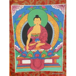 Tangka tibétain Bouddha Sakyamouni 40 x 70 cm DEFAUT Tangkas tibétains TANBSADEF