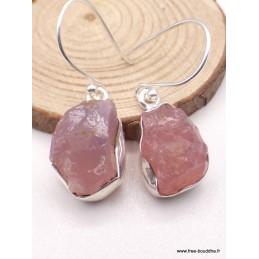 Boucles d'oreilles en Quartz rose brut Bijoux en Quartz Rose PAC95.2