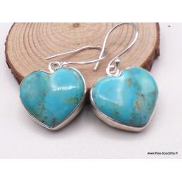 Boucles d'oreilles Turquoise Mohave forme Coeur Bijoux en Turquoise PAC28.2