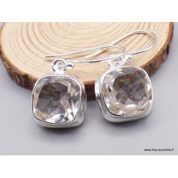 Boucles d'oreilles Cristal de Roche facetté carrées Boucles d'oreilles en pierres PAC90.2