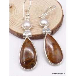 Boucles d'oreilles pendantes Pietersite perle Boucles d'oreilles en pierres XV133.8