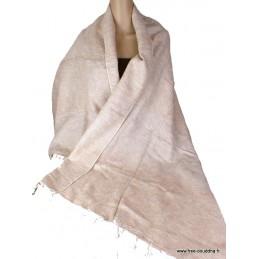 Châle ethnique laine de Yak écru rosé CPLY120