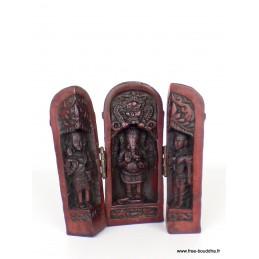 Temple triptyque bouddhiste Ganesh portatif rouge Objets rituels bouddhistes TEMGA1