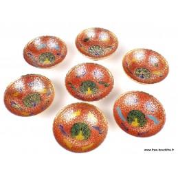 Bols d'offrandes laiton émaillé rouge 10 cm BOLEM1