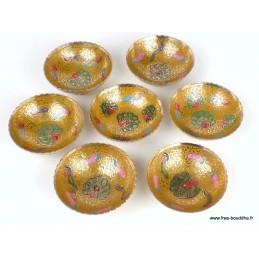 Bols d'offrandes laiton émaillé jaune 10 cm BOLEM3
