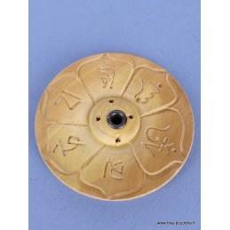 Porte encens tibétain galette en bois gravé GAL2