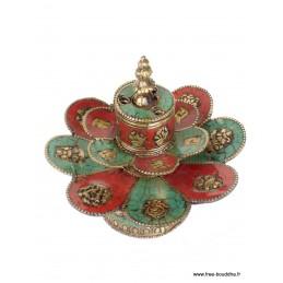 Brûleur d'encens tibétain double lotus DBLESA5