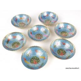 Bols d'offrandes laiton émaillé bleu ciel 10 cm BOLEM5