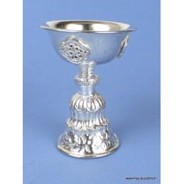 Lampe à beurre tibétaine 10 cm plaqué argent Objets rituels bouddhistes lamp31