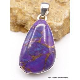 Pendentif asymétrique Turquoise pourpre cuivré Pendentifs pierres naturelles PU26
