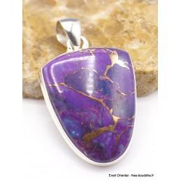 Pendentif semi-oval Turquoise pourpre cuivré Pendentifs pierres naturelles PU26.1