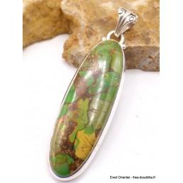 Pendentif oval long Turquoise verte cuivrée Pendentifs pierres naturelles PU27