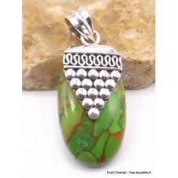 Pendentif Turquoise verte cuivrée motif grappe Pendentifs pierres naturelles PU27.1