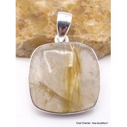 Pendentif Quartz rutile doré forme carrée Pendentifs pierres naturelles PU31