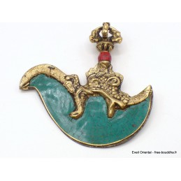 Kartika tibétain (drigug) laiton et turquoise naturelle KD3