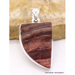 Pendentif en Oeil de Tigre rouge brut semi-oval Pendentifs pierres naturelles XV15.2