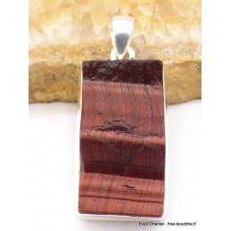 Pendentif en Oeil de Tigre rouge brut rectangulaire Pendentifs pierres naturelles XV15.3