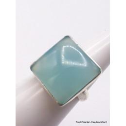 Bague Calcédoine bleue carrée taille 55 Bagues pierres naturelles XV56.6
