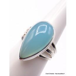 Bague Calcédoine bleue forme goutte 3 anneaux T 55 Bagues pierres naturelles XV56.7