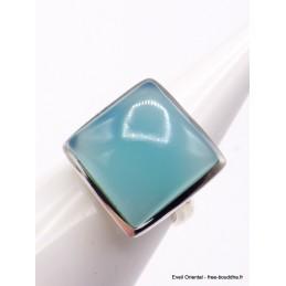 Bague Calcédoine bleue forme carrée taille ajustable Bagues pierres naturelles XV56.8