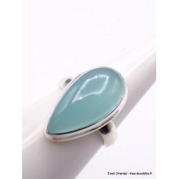 Bague Calcédoine bleue forme goutte taille 57/58 Bagues pierres naturelles XV56.9